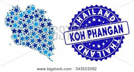 Blue Koh Phangan Thai Island Map Composition Of Stars, And Scratched Round Stamp Seal. Abstract Terr
