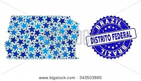Blue Brazil Distrito Federal Map Collage Of Stars, And Textured Rounded Stamp. Abstract Territorial