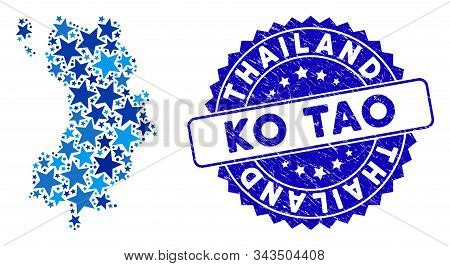 Blue Ko Tao Map Mosaic Of Stars, And Grunge Rounded Stamp. Abstract Territory Plan In Blue Shades. V