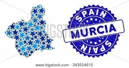Blue Murcia Province Map Collage Of Stars, And Scratched Rounded Stamp Seal. Abstract Geographic Pla