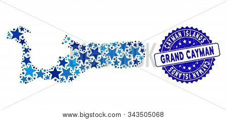Blue Grand Cayman Island Map Mosaic Of Stars, And Grunge Round Seal. Abstract Territorial Scheme In