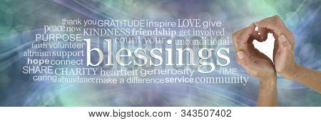 Sending You My Heart Felt Blessings Word Cloud - Female Hands Making A Heart Shape Beside The Word B