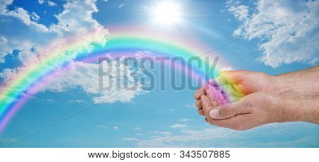 Sending You Beautiful Rainbow Healing Energy - Male Cupped Hands With A Vivid Rainbow Arcing Outward