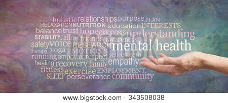 Mental Health Awareness Word Cloud - Female Hand Palm Up With The Words Mental Health Floating Above