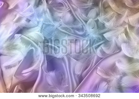 Angelic Multicoloured Silk And Fluffy White Feathers Background - Randomly Scattered Short White Cur