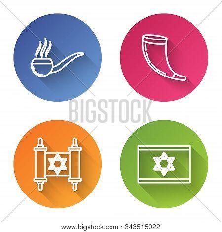 Set Line Smoking Pipe With Smoke, Traditional Ram Horn, Shofar, Torah Scroll And Flag Of Israel. Col