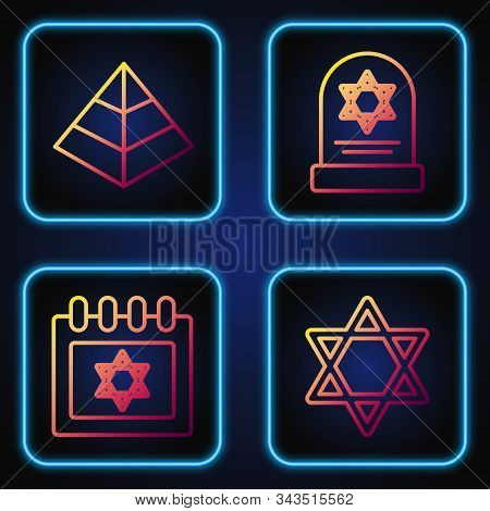 Set Line Star Of David, Jewish Calendar With Star Of David, Egypt Pyramids And Tombstone With Star O