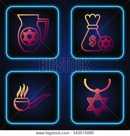 Set Line Star Of David Necklace On Chain, Smoking Pipe With Smoke, Decanter With Star Of David And J