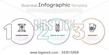 Set Line Torah Scroll, Torah Scroll And Decanter With Star Of David. Business Infographic Template.