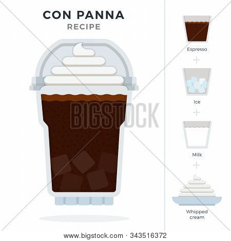 Con Panna Ice Coffee Recipe In Disposable Plastic Cup With Dome Lid Vector Flat Isolated