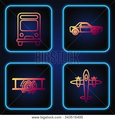 Set Line Old Retro Vintage Plane, Old Retro Vintage Plane, Bus And Sedan Car. Gradient Color Icons.