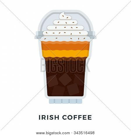 Ice Irish Coffee With Whipped Cream Vector Flat Isolated