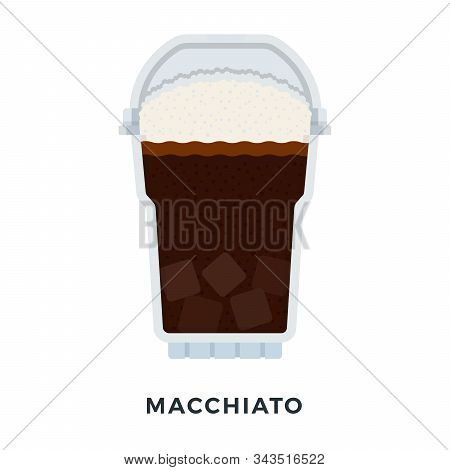 Macchiato Coffee With Ice Cubes Vector Flat Isolated