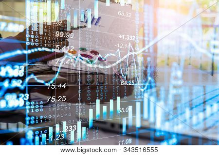 Stock Market Or Forex Trading Graph And Candlestick Chart Suitable For Financial Investment Concept.