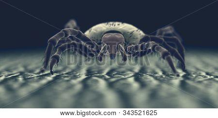 3d rendered illustration of a tick on human skin, sem style
