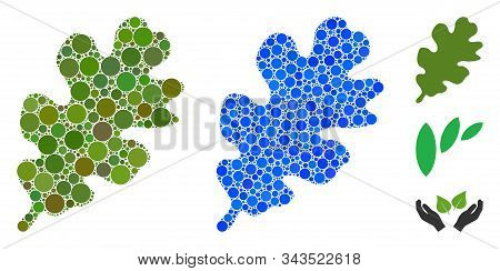 Oak Leaf Composition Of Small Circles In Various Sizes And Shades, Based On Oak Leaf Icon. Vector Sm