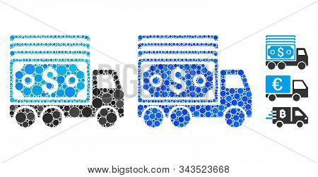 Cash Lorry Composition Of Round Dots In Various Sizes And Color Hues, Based On Cash Lorry Icon. Vect