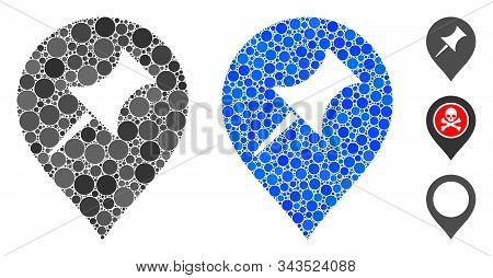 Interest Pin Marker Mosaic Of Circle Elements In Variable Sizes And Color Tones, Based On Interest P