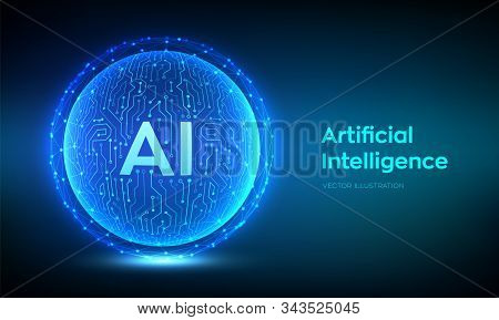 Ai. Artificial Intelligence Logo. Artificial Intelligence And Machine Learning Concept. Abstract Tec