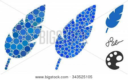 Feather Mosaic Of Filled Circles In Variable Sizes And Color Tints, Based On Feather Icon. Vector Fi