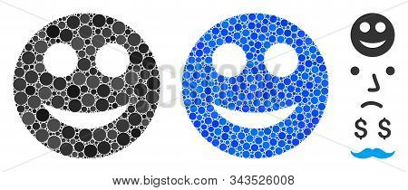 Positive Smiley Composition Of Round Dots In Different Sizes And Shades, Based On Positive Smiley Ic