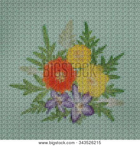 Illustration. Cross-stitch Bouquet Of Flowers. Cosmos, Cosmea Carpet. Floral Background, Collage.  F
