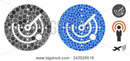 Radar Composition Of Small Circles In Various Sizes And Shades, Based On Radar Icon. Vector Filled C