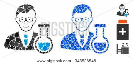 Chemist Mosaic Of Small Circles In Different Sizes And Color Tints, Based On Chemist Icon. Vector Sm