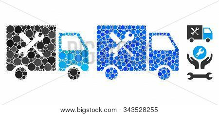 Service Van Mosaic Of Round Dots In Different Sizes And Color Hues, Based On Service Van Icon. Vecto