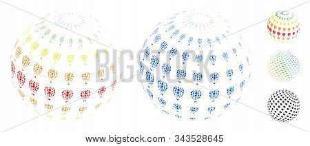 Abstract Aerostat Sphere Mosaic Of Round Dots In Different Sizes And Color Tinges, Based On Abstract