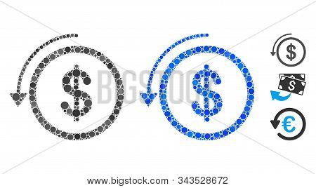 Refund Mosaic Of Circle Elements In Various Sizes And Color Tones, Based On Refund Icon. Vector Roun