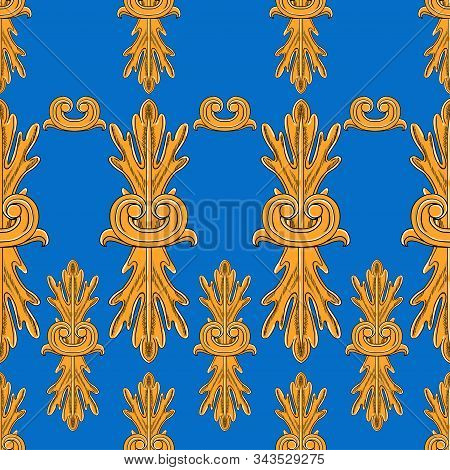 Baroque And Rococo Elements. Separate Orange Decorative Patterns On A Blue Background. Seamless Patt