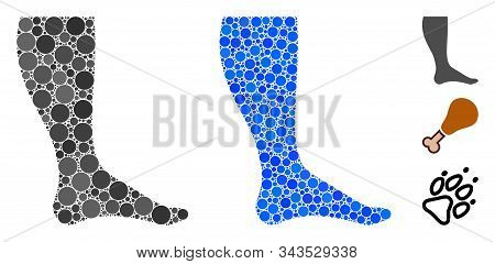 Leg Mosaic Of Small Circles In Different Sizes And Shades, Based On Leg Icon. Vector Circle Elements