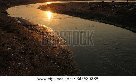 Sunset On The River Mouth, Receding Water