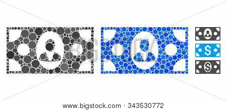Banknote Mosaic Of Small Circles In Various Sizes And Color Tints, Based On Banknote Icon. Vector Sm