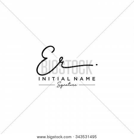 Letter Initial Er Signature Logo Template Vector