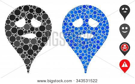 Thinking Smiley Map Marker Composition Of Filled Circles In Variable Sizes And Shades, Based On Thin