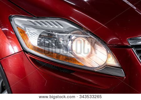 Novosibirsk, Russia - November 27, 2019:  Ford Kuga,  Close Up Detail On One Of The Led Headlights M
