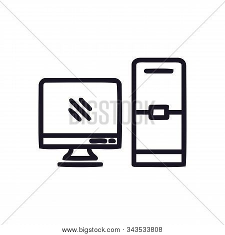 Pc Computer Icon Isolated On White Background. Pc Computer Icon In Trendy Design Style For Web Site