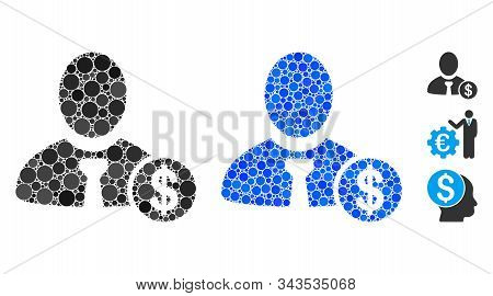 Banker Composition Of Round Dots In Various Sizes And Color Tinges, Based On Banker Icon. Vector Rou