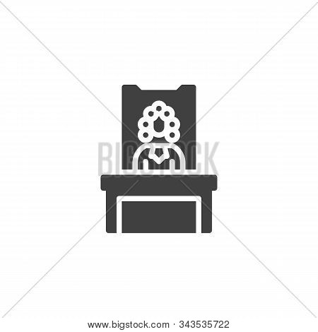 Judge In A Courtroom Vector Icon. Filled Flat Sign For Mobile Concept And Web Design. Judge Sitting