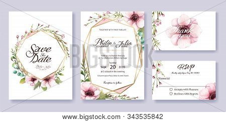 Wedding Invitation, Save The Date, Thank You, Rsvp Card Design Template. Vector. Anemone Flower, Sil