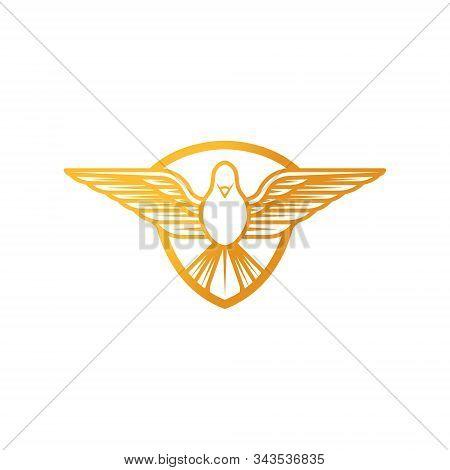 Dove Shield Logo Icon Vector. Abstract Flying Dove Shield Logo Elegant Silhouette Design Vector.