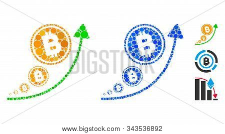 Bitcoin Inflation Trend Mosaic Of Filled Circles In Variable Sizes And Color Tinges, Based On Bitcoi