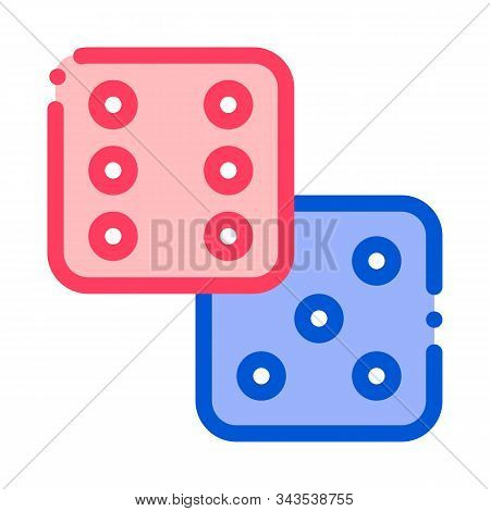 Game Element Glassies Vector Thin Line Sign Icon. Detail Of Table Or Crap Shooting Game, Playing Gam
