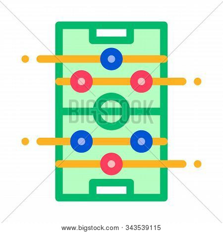 Interactive Kids Table Football Vector Sign Icon Thin Line. Football Foosball Soccer Game Children P