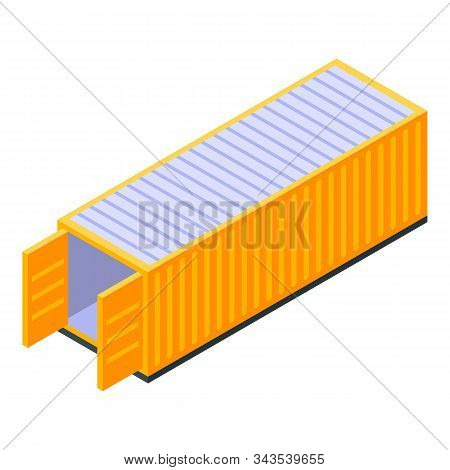 Ship Cargo Container Icon. Isometric Of Ship Cargo Container Vector Icon For Web Design Isolated On