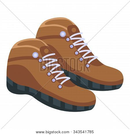 Hiking Boots Icon. Isometric Of Hiking Boots Vector Icon For Web Design Isolated On White Background