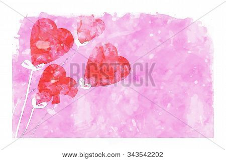Heart Shape Balloons On Pink Watercolor Background, Watercolor Painting For Valentine's Day Card
