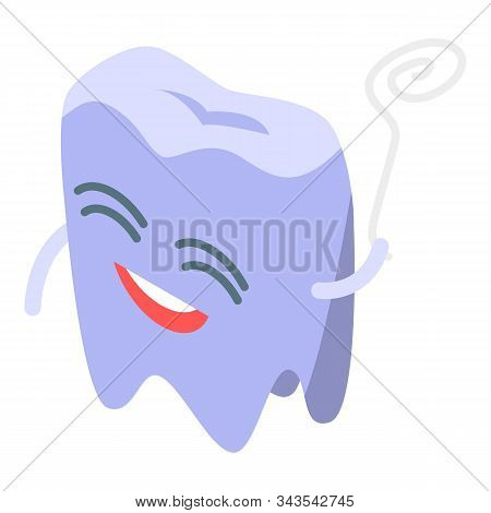 Teeth Floss Icon. Isometric Of Teeth Floss Vector Icon For Web Design Isolated On White Background